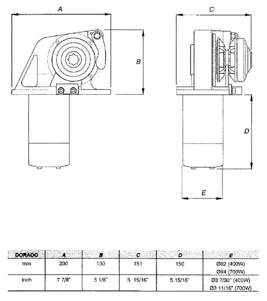 Dorado_dim_drwg lofrans dorado 500w boat windlass 12v horizontal lw275an ongaro horn wiring diagram at edmiracle.co